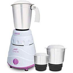 Inalsa Jazz 550-Watt Mixer Grinder with 3 Jars, (White/Purple)
