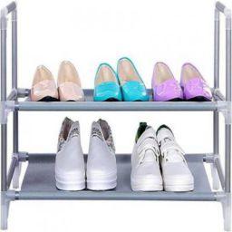 CMerchants 2Rack-Shoe-Rack3 Metal Shoe Rack (Silver, 2 Shelves)