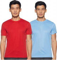 6 Degrees Men's Solid Regular fit T-Shirt (Pack of 2)