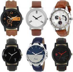 Analouge Designer Leather Balt balt set of 6 combo watch For Boys and Men Analog Watch - For Men