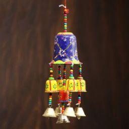 eCraftIndia Handcrafted Decorative Wall/Door/Window Hanging Bells Decorative Showpiece - 36 cm  (Metal, Paper Mache, Mul