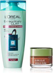 L'Oreal Paris Pure Clay Mask, Red Algae, 48g with Extraordinary Clay Shampoo, 175ml