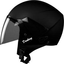 Steelbird SBH-5 7Wings Natural Open Face Helmet with Plain Visor (Medium 580 MM, Natural Black)