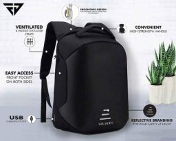 Fur Jaden 20L Black Anti Theft Bag 15.6 Inch Laptop Backpack with USB Charging Port