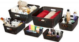 Amazon Brand - Solimo 6 Piece Storage Basket Set, Brown