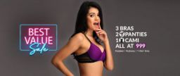 Clovia New year Sale: 3 Bra, 2 Panties & a cami at Rs.999