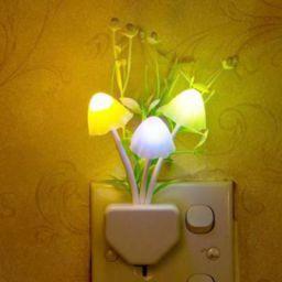 WORA Night Lamps Mushroom & Flower Color Changing Light Sensor LED Decorative Night Lamp