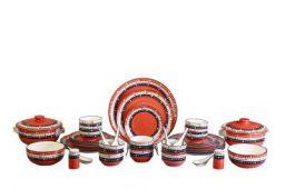 Caffeine Dinner Set Ceramic/Stoneware in Salmon Orange Oodles (37 Pc)