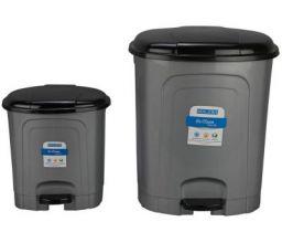 Kolorr Go Clean Pedal Waste Garbage Bin Trash Can Modern Design Plastic Dustbin - 6.5L & 23L (Pack of 2) - Silver