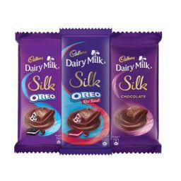 Cadbury Dairy Milk Silk Large Chocolates Combo (Silk Oreo Red Velvet 130g, Silk Oreo 130g, Silk Plain 150g), 410g