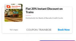 Flat 20% Instant Discount up to INR 100 on Train Tickets
