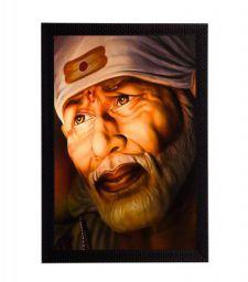 eCraftIndia Sai Baba Satin Matt Texture Framed Synthetic Wood UV Art Painting (28 cm x 1.3 cm x 35.6 cm)