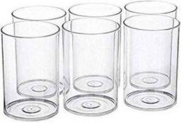 TAPASVI 6 Pcs. Unbreakable Clear Transparent Water, Juice Glass Set 300 Ml Poly Carbonate Plastic Glasses Glass Set (Pack of 6)
