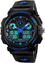 Skmei Analogue Digital Black Dial Black Strap Watch for Men Analog