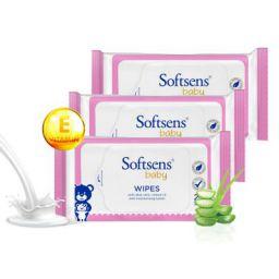 Softsens Baby Skin Care Wipes with Aloe Vera & Moisturising Lotion, 20 Pcs x 3 Pack