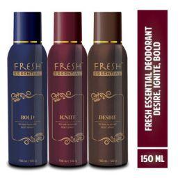 Fresh Essential No Gas Deodorant, 150 ml (Desire, Ignite, Bold - Pack of 3)