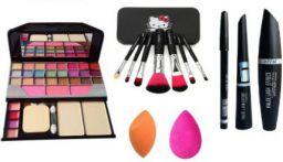 MYN 6155 Makeup Kit Mini Laptop Eye Shadow & Brush Set Black & EyeLiner Kajal Mascara & 2 Puff  (7 Items in the set)