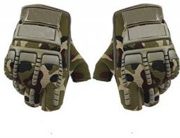 AutokraftZ Half Finger Motorcycle Gloves (Large, Green, Set of 2)