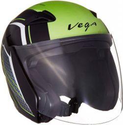 Vega Eclipse Stryk Open Face Helmet (Dull Black and Neon Green, Medium)