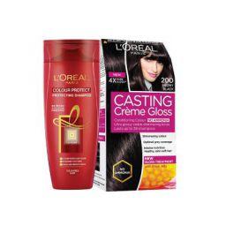 L'Oreal Paris Casting Creme Gloss, 200 Ebony Black, 87.5g with Free Hair Expert Color Protect Shampoo, 175ml