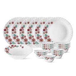 Larah by Borosil Ayana Silk Series Opalware Dinner Set, 19 Pieces, White