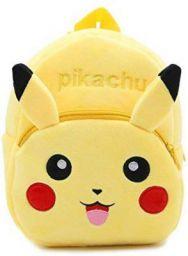 DZert Pikachu kids bag 10Ltr Velvet Backpack (Yellow)