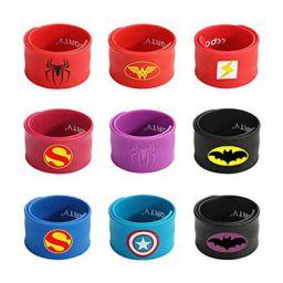 Superhero Slap Bracelet for Kids Boys & Girls Birthday Party Supplies Favors Mix Super Heroes Pack of 9