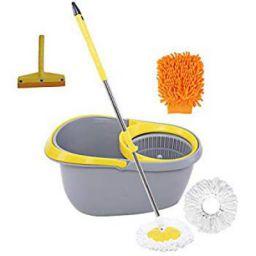 Frestol Plastic Mop +2 Refill+Rod + Wiper + Glove - Grey/Yellow