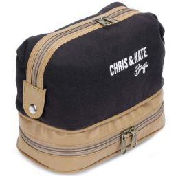 Chris & Kate Black-Brown Canvas & PU Toiletry Bag, Multifunctional Dopp Kit, Portable Cosmetic-Makeup Bag for Women, Shaving Kit Organizer Bag for Men