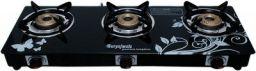 Suryajwala Stainless Steel 3 Burner Manual Gas Stove, Black
