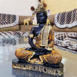 Craft Junction Beautiful Black Golden Meditating Lord Buddha Decorative Showpiece - 25 cm  (Polyresin, Multicolor)