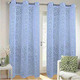 Kuber Industries Cotton 2 Pieces 7 Feet Eyelet Door Curtain (Blue) -CTKTC12942