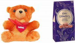 Cadbury - Valentine Gift Combo with Celebrations Premium Chocolate Gift Pack, 217 Gram & A Beautiful Teddy Combo  (Chocolate and 1 Beautiful Teddy)