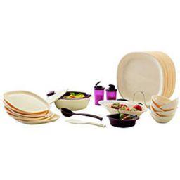 Signoraware Square Dinner Set 29-Pieces Off White/Maroon