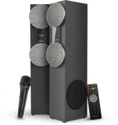 Sansui WaveBlast 2 Karaoke Compatible, Thunder Bass, Stereophonic Sound 84 W Bluetooth Tower Speaker (Black, 2.0 Channel)