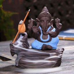 CraftJunction Handcrafted Lord Ganesha Smoke Backflow Cone Incense Holder Decorative Showpiece with 10 Free Smoke Backflow Scented Cone Incenses