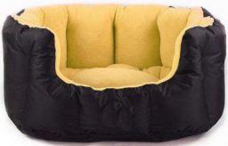 KOZI PET Reversible Dual Color Ultra Soft Ethnic Designer Bed for Dog & Cat (Export Quality), Beidge/Black, Large, 1350 g