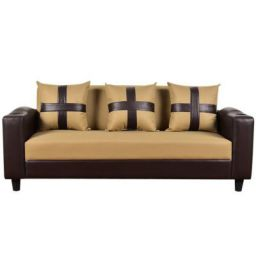 Sunuzu Three Seater Sofa (Camel-Brown)