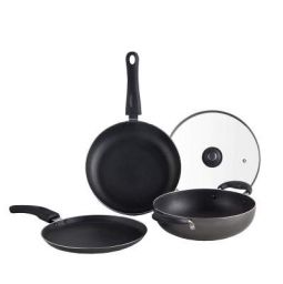 Lifelong Popular Non-Stick Cookware Set, 3-Pieces, Black/Grey