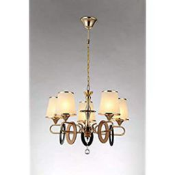 Tu Casa Golden Finish with Glass Shade 5 Light Chandelier