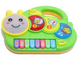 Vivir Caterpillar Flashing Drum Piano Musical Toys for Babies and Kids (Green)