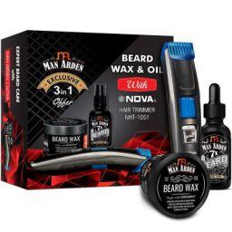 Man Arden Complete 3 in 1 Beard Kit With 7X Beard Oil & Beard Wax + NOVA Hair Trimmer
