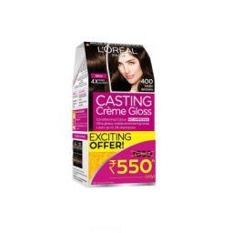 L'Oreal Paris Casting Creme Gloss Hair Color, 400 Dark Brown, 87.5g+72ml (Rs.80 off)