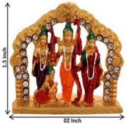 FABZONE Gold Plated With Stones God Shri Ram Darbar | Murti Decorative Showpiece - 4 cm (Brass, Multicolor)