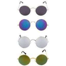 Dervin Gandhi Round Shape Retro UV Protection Men's and Women's Sunglasses Shades (53, Multicolour) -Combo of 4