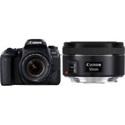 Canon EOS 77D 24.2MP Digital SLR Camera + EF-S 18-55 mm 4-5.6 is STM Lens/Camera Case with Canon EF50MM F/1.8 STM Lens