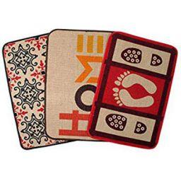 Saral Home Decorative Jute Printed Doormat Set of 3Pc- 40x60 cm, Red