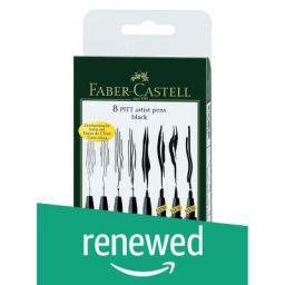 (Renewed) Faber-Castell Artist Pen Set - Pack of 8 (Black)