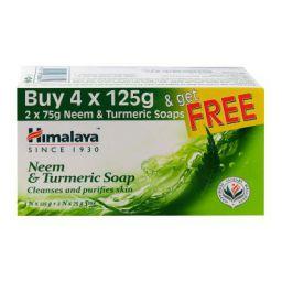 Himalaya Neem & Turmeric Soap - 125g (Pack of 4) + Pack of 2 of 75g Free