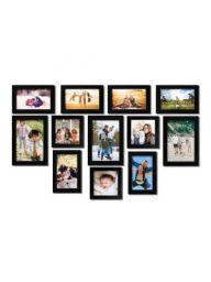 Random Photo Frames (Synthetic Wood, 30 cm x 22 cm x 14 cm, Black, Set of 12)